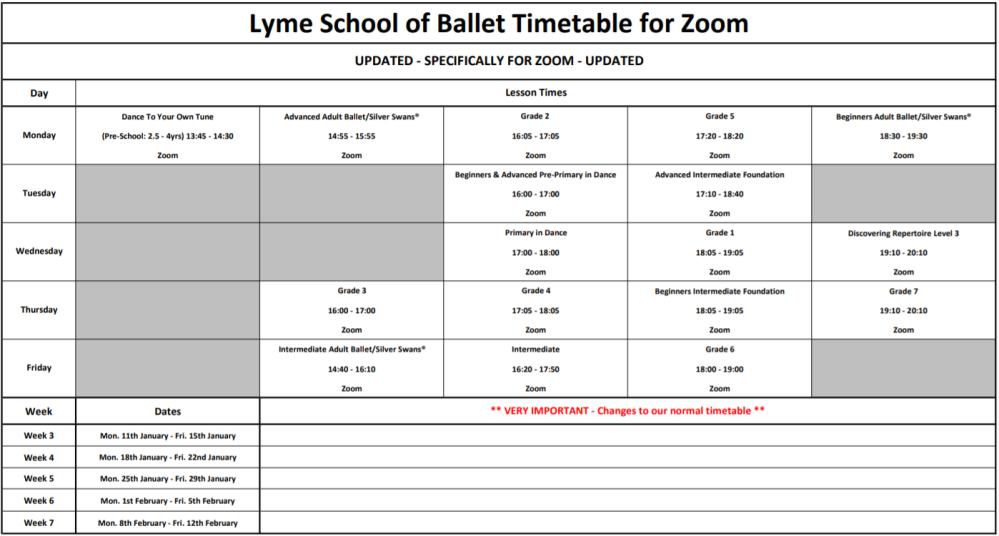 Zoom Timetable (11th Jan - 12th Feb 2021)