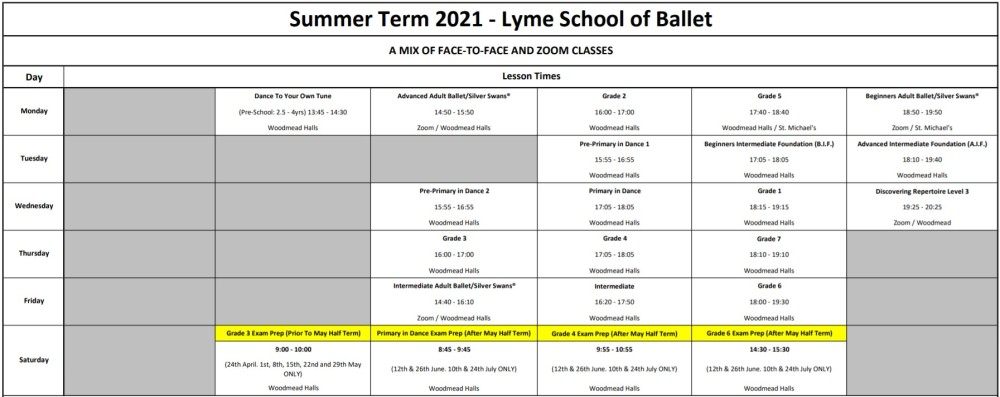 Summer Term 2021 Timetable
