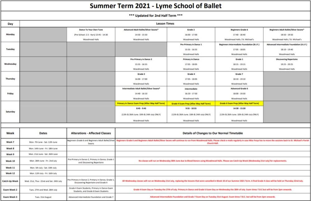 2nd Half Summer Term 2021 Timetable