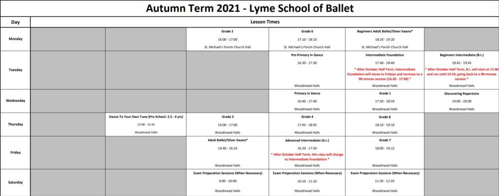 Autumn Term Timetable 2021